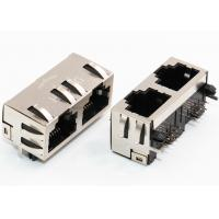 8P8C 1 x 2 Ports RJ45 Female Connector Through Hole Mount Shielded With EMI Finger