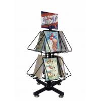 Quality Greeting Cards Retail Store Fixtures Movable Commercial Book Display Wire Spinner Rack for sale
