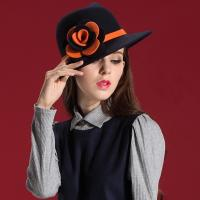 China Black Cool Winter Hat Ladies Wool Fedora Hat With Flower Trimming On Side on sale