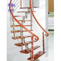 Quality custom curved staircase wood / carving wooden stair railing / indoor curved stairs for sale