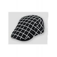 Wholesale Newsboy Geometric Plaid Flat Cap Mens Black Flat Cap For Autumn Spring from china suppliers