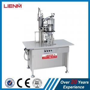 China Semi automatic air fresher, paint, snow, pu foam, body spray Aerosol Filling and Sealing Machine on sale