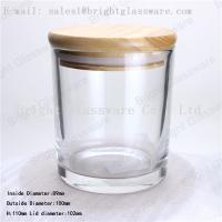 Wholesale glass container with bamboo wooden lid from china suppliers