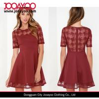Wholesale Short Sleeve Round Collar Fit and Flare Girls Party Lace Dresses Wine Red from china suppliers