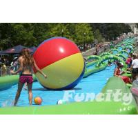 Wholesale Colorful Inflatable Water Pools Custom Made 0.9 PVC Tarpaulin with Long Slide from china suppliers