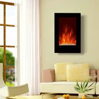 "Wholesale 23""Black Flat Tempered Glass Standing Wall Mounted Electric Fireplace Heater(Pebbles Fuel) LED flame EF491L space heater from china suppliers"