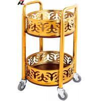 Wholesale Stainless Steel Ti-gold wine carts with 4 Casters from china suppliers