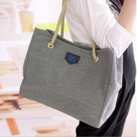 Wholesale Grey Canvas Handbags European Style , Black Linen Messenger Bags For Women from china suppliers