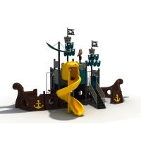 Children Outdoor Playground Equipment Sea Sailing Pirate Ship Theme With Plastic Slide