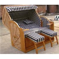 Wholesale Outdoor PE Rattan Roofed Beach Chair & Strandkorb With Wood And Rattan Frame from china suppliers