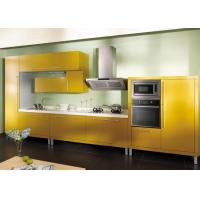Wholesale Butter Yellow UV / PVC Kitchen Cabinet , Custom Modern Built In Cupboards from china suppliers
