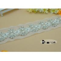 Buy cheap White Hand Sew On Rhinestone Pearl Beaded Trim For Wedding Dress from wholesalers