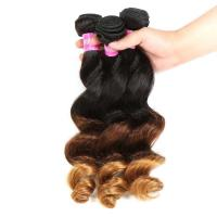 Wholesale Peruvian Hair Loose Wave 3 Tone Ombre Hair Weave , 1B/4/27 Ombre Blonde Hair Extensions from china suppliers