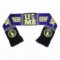 Wholesale Knitted Jacquard Football Scarf, Made of 100% Acrylic from china suppliers