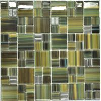 Wholesale Olivine puzzel pattern green glass mosaic tile sheets from china suppliers