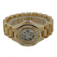Wholesale Maple Color Automatic Wooden Watch , Harden Glass Waterproof Wood Watch from china suppliers