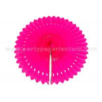 Wholesale Engraving Flower Hanging Paper Fans , Ivory  / Pink Paper Fan Party Decorations from china suppliers