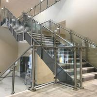 Wholesale Decking / balcony glass balustrade with mirror finish steel posts from china suppliers