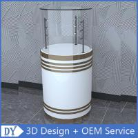 Buy cheap Factory customized good quality fashion round shape wooden white lacquer glass cabinets with led lights from wholesalers