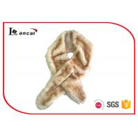 Wholesale Crossed Style Beige Faux Fur Snood Scarf Washble 16cm × 145cm For Womens from china suppliers