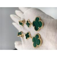 Wholesale 18K Gold Luxury Jewelry VCA Magic Alhambra earrings 3 motifs malachite 18K yellow gold jewelry from china suppliers