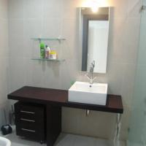Buy cheap Semi-circle Drawer Phoenix Stone counter top black corner bathroom cabinet,SW-1174 from wholesalers