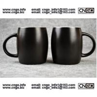 Wholesale 400ML Beer barrel mug black ceramic beer mug custom advertising LOGO for your design from china suppliers