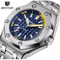 China Hot selling square Mens Chronograph steel bracelet Quartz benyar Watches BY-5123M for sale