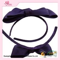 Quality Women Hair Band , Purple Huge Grosgrain Ribbon Bows With Metal Headband for sale