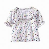 Wholesale Baby Girl Floral Printing Ruffle-overlay Top, Customized Materials are Welcome from china suppliers