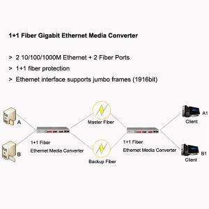Wholesale 1+1 Fiber Gigabit Ethernet Media Converter, 2 GE + 2 fiber ports, support jumbo frames from china suppliers