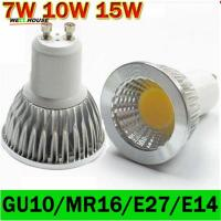 Wholesale LED lamp GU10 LED Spotlight Dimmable COB LED Bulb 7W 10W 15W Warm White / white 110V/220V GU 10 Bulbs Free shipping 1PCS from china suppliers