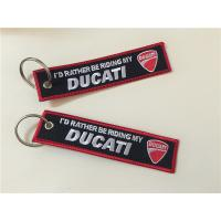 Wholesale I'd  I'd Rather Riding My Ducati Car Logos Fashion  Embroidery Keychain Keyring Key Ring from china suppliers
