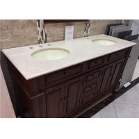 Wholesale Double Cutouts Marble Bathroom Worktop 60 Inch With Cabinet , Beige Color from china suppliers