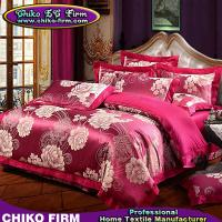 Buy cheap 100% Cotton Dark Red Big Flower Jacquard Bed Sheet Bedding Sets from wholesalers