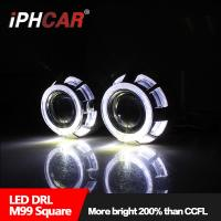 Wholesale IPHCAR 35W 12V hid bulb H1 2.5 inch hid bi xenon projector lens double angel eyes projector lens for car from china suppliers