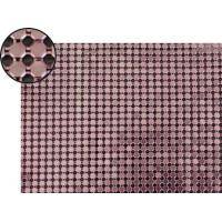A piece of metallic fabric cloth with dark purple color and octagon shape.