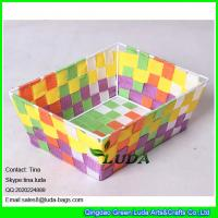 Wholesale LDKZ-006 colorful woven strap tote rectangular storage basket bins,handmade storage container from china suppliers