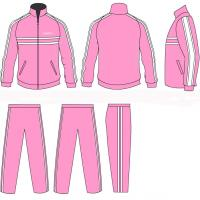 Wholesale Women Pink / White Casual Tracksuits Sportswear Full Jacket Zip With Your Team Name from china suppliers