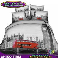 Wholesale London City Design Cotton Duvet Cover Flat Sheet Pillow Shams 3D Bedding Sets from china suppliers