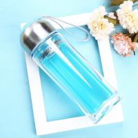 Wholesale Blue / Black Double Wall Glass Water Bottle Wide Mouth For Daily Drinking from china suppliers
