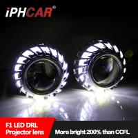 Wholesale Hot sale Firewheel shroud led light guide angel eyes 2.5 inch hid high and low beam projector lens for H1 H4 H7 car moto from china suppliers