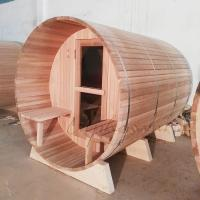 Wholesale Cedar outdoor barrel sauna kits 1800*1800*2400MM  with 8MM Tempered glass door from china suppliers