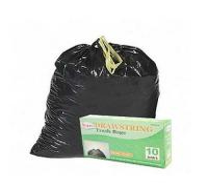 China HDPE Black Drawstring Garbage Bags High Durability Environmental Friendly on sale