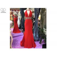 Wholesale Hanging Neck Red Mermaid Style Prom Dress Top Beading Deep V Neck Backless from china suppliers