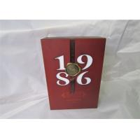 Wholesale Silk Ribbon Wine Packaging Boxes Personalized For Wedding , Red Color from china suppliers