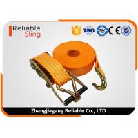 Wholesale 4T Polyester Orange Double J Hook Ratchet Straps / Heavy Duty Cargo Straps from china suppliers