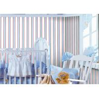 Wholesale Room Decor Vertical Striped Wallpaper , Blue And White Striped Wallpaper Removable from china suppliers