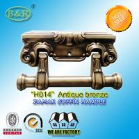 Wholesale Antique brass zamak coffin handle metal coffin accessories handle H014 antique bronze from china suppliers