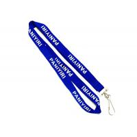 Buy cheap J Hook Custom Polyester Lanyards Navy Blue Requested Design Free Artwork from wholesalers